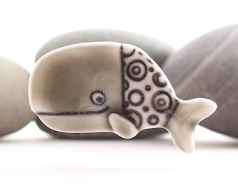 Whale Brooch Glazed Warm Grey Handmade Porcelain
