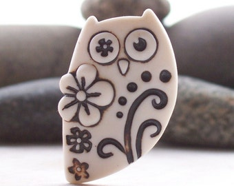 Owl Brooch Pin Handmade Porcelain Natural un glazed with flowers, dots and twirls