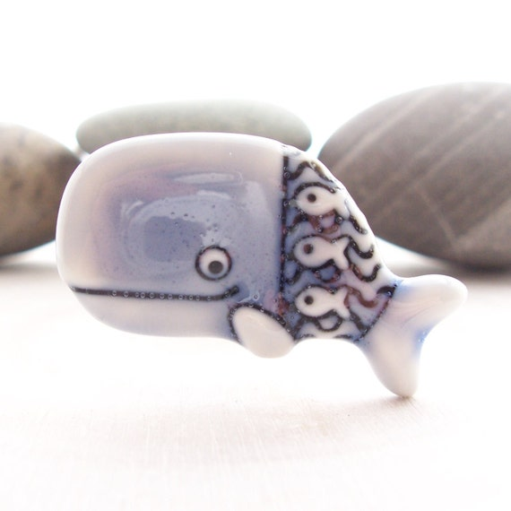 Whale Brooch Pin Pale Blue Glazed Handmade Porcelain