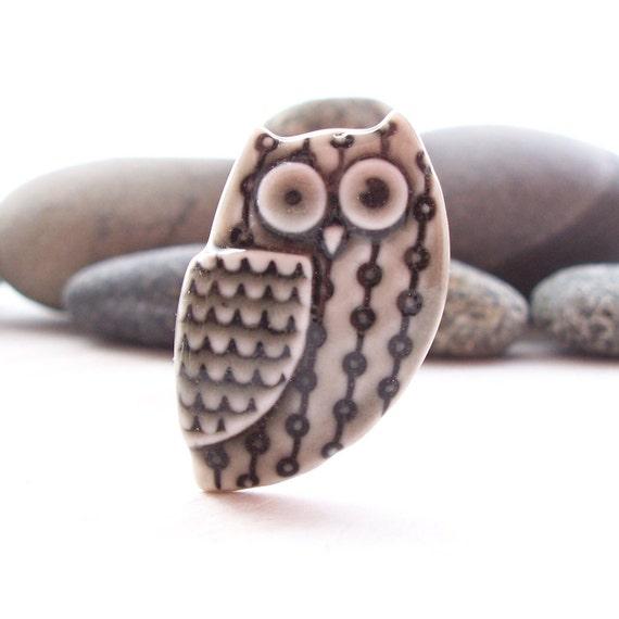 Owl Pin Brooch Handmade Porcelain Warm Grey Glazed