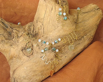 Moonstone and Crystal Necklace and Earrings