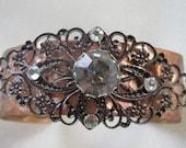 Copper Cuff Bracelet Filigree Rhinestones