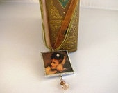 Soldered Glass Pendant Necklace Romantic Victorian Lady SALE
