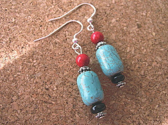 Turquoise Earrings, Sterling Silver, Southwestern Jewelry