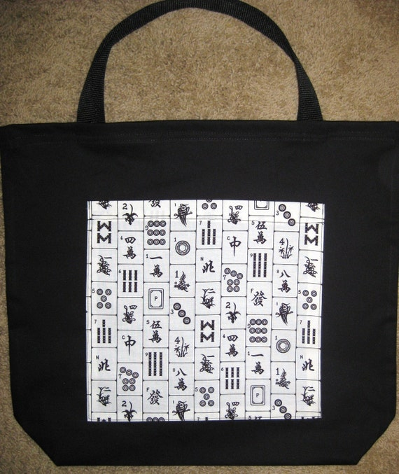 Mah Jongg Tote Bag Mahjong Majon Tiles Design By Angelascrafthut