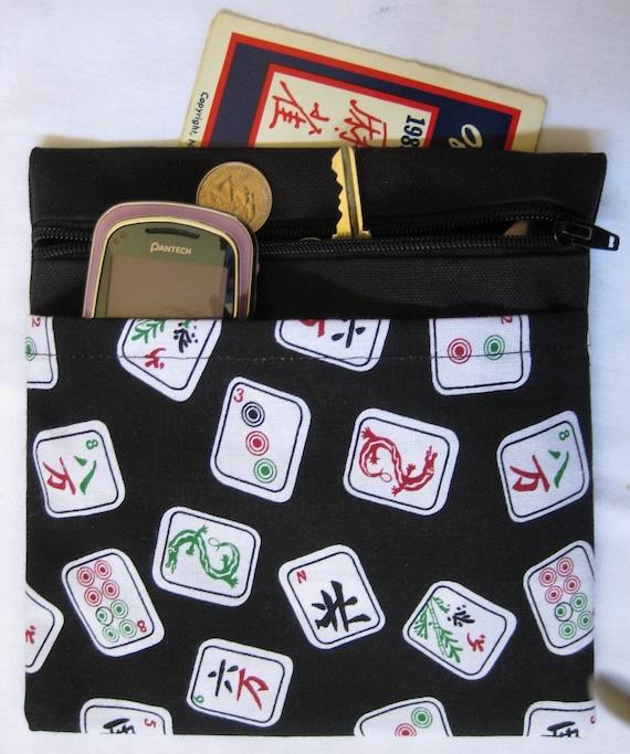 Mah Jongg Card holder/Pouch/zippered/three pocket/mahjong/majon