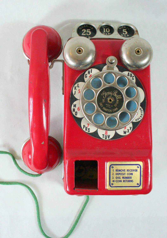 Vintage Metal Red Toy Phone