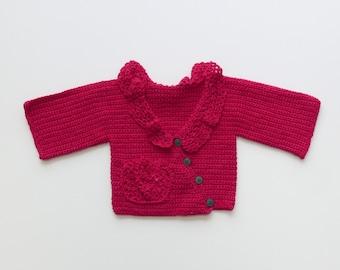 Raspberry adorable baby cardigan