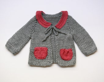 Stylish grey and pink baby sweater