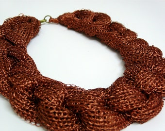 PARTY bronze knitted necklace