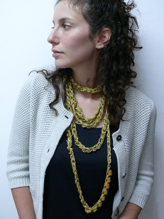 Gold Chain knitted necklace