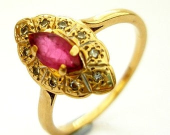 Art Deco Marquise Ruby Engagement Ring