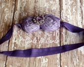 Purple Silk Rosettes With Purple Veiling Headband Couture Vintage Inspired : Custom Made For Newborn To Adult