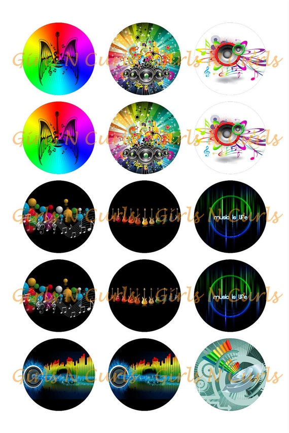 1 inch Music Inspired (00059) bottle caps, stickers, cup cake toppers