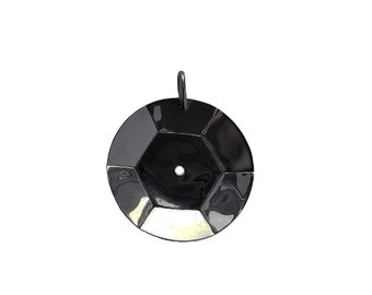 the Funkastic Metal Sequin Pendant (diametre 4,5 cm-small size ) in BLACK rhodium plated brass