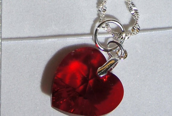 Swarovski Siam Heart Pendant Sterling Silver Chain  Be My Valentine- any time of the year. 14mm