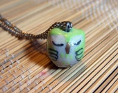 Green Sleepy Owl Necklace