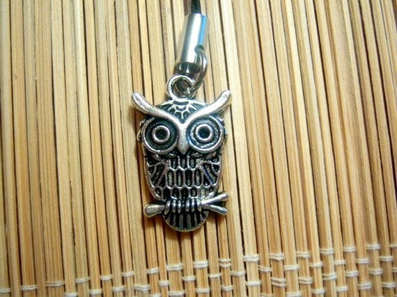 Silver Owl Cell Phone Charm