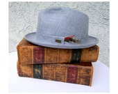 spring sale - Classic Mid Century Vintage 60s Plaid Fedora Hat with feathers by Adam - size 7 - new old stock, never worn