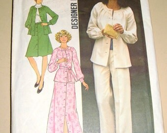 Vintage 70s Simplicity Sewing Pattern 7132 -- Ultra Boho Groovy Dress Set w/ Skirt/Flared Pants/POET Blouse/Top - Size 10 32.5 bust