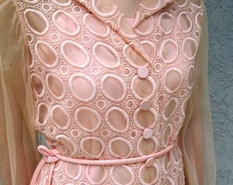 Vintage 60s Party Dress - Powder Pink Designer Mini Dress w/ Embroidered Semi Sheer Chiffon Overlay w/ Funky Geometric Pattern Medium M