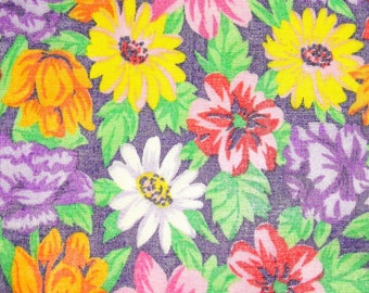 Vintage 70s Fabric Yardage - Hot Pink, Purple, Canary Yellow, Orange Semi Sheer Organza w Rainbow Daisy Design - Hippie Sewing - 5 Yards