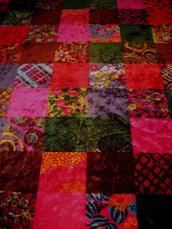 Amazing Vintage 70s Velour Patchwork Fabric Yardage Gorgeous