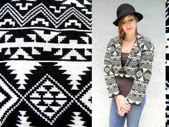 Vintage 90s Tribal Print Jacket - Southwestern Print Cropped Jacket in Black and White Cotton Design - Medium/M - Oversized Fit