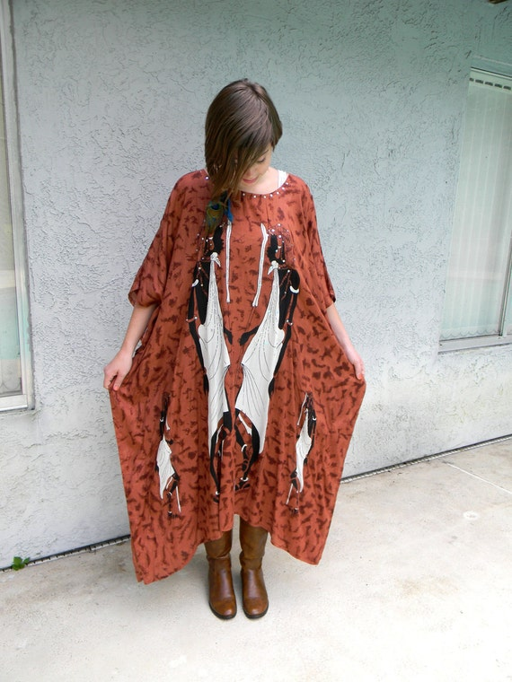 Gorgeous Vintage 90s Ethnic House Mama Maxi Cocoon Dress with Great African Tribal fabric, sequins, and massive batwing/bell sleeves