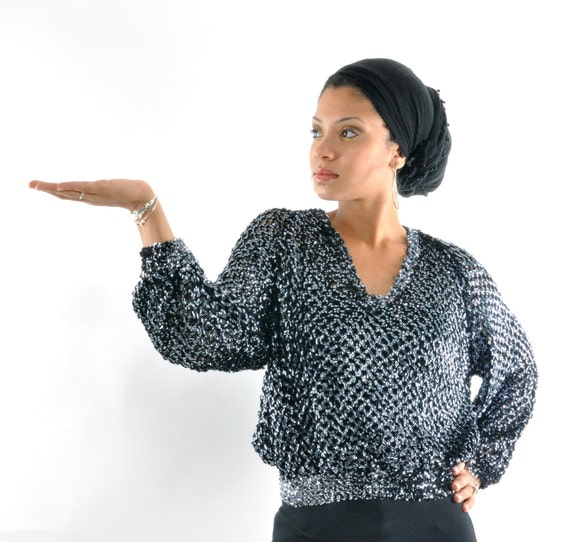 Dancefloor Goddess - Classic Vintage 70s/80s Disco Glitter Ball Sequin Trophy Shirt/Blouse/Top in Metallic Silver w/ angel/batwing sleeves