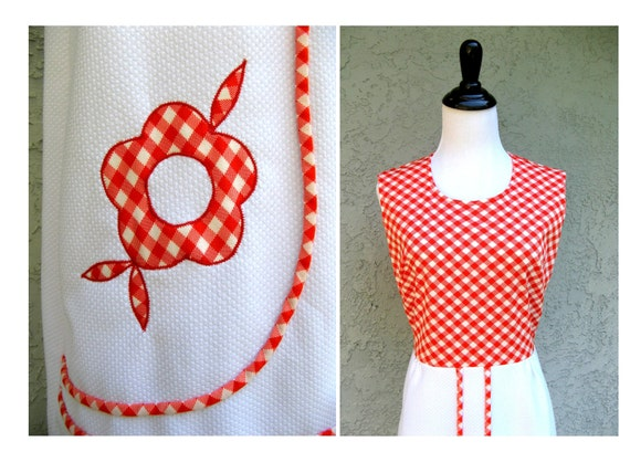 Daisy Crazy Spring - Vintage 60s/70s Mod/Flower Power Designer Maxi Dress in red/white gingham w/ Daisy Appliques - Plus Size Diva