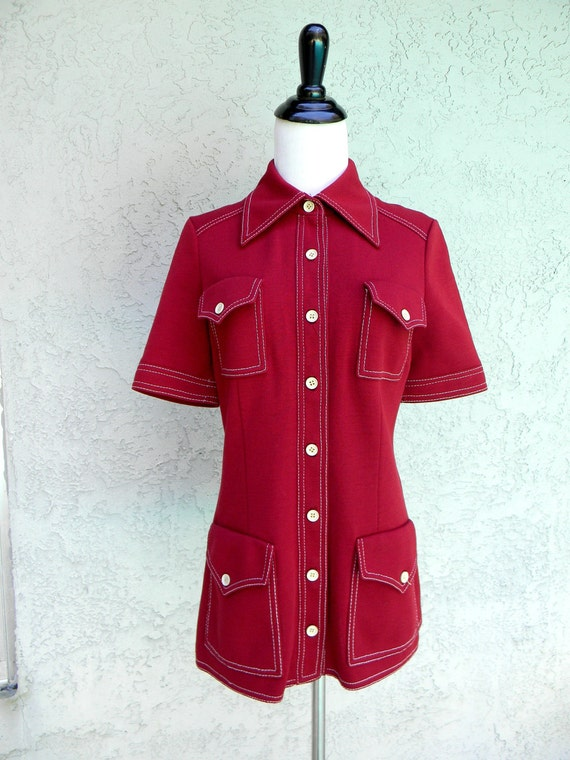 Vintage Bowling Shirt  - Vintage 70s does 50s Stretch Knit Maroon RED Bowling Shirt w/ Patch Pockets/White Stitching - Size 3/4 5/6 Small/S