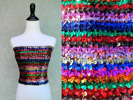 Disco Ball Diva 2 - Vintage 70s/80s Rainbow Striped Glitter Ball Sparkle Sequin Tube Top/Shirt/Blouse
