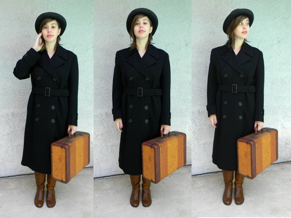 Ahoy Sailor - Vintage UNISEX 50s/60s US Military NAVY Double Breasted Pea Coat/Jacket w/ matching belt - Plus Size Vintage
