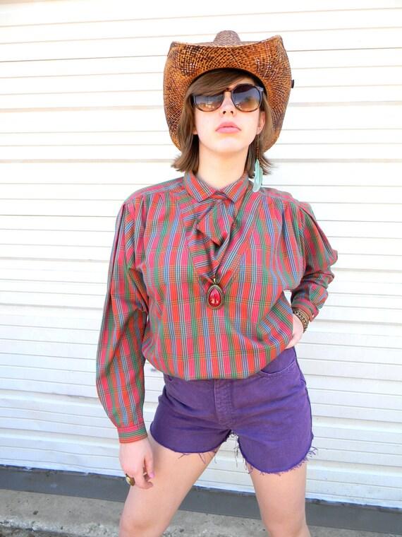 Vintage Summer/Spring Blouse - Vintage 80s/90s Liz Claiborne Rainbow Plaid Shirt in Pink/Blue/Green/Orange/Red/Purple w/ Cowl Neck - Size L