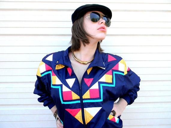 Hip Hop til You Drop - Vintage 80s/90s Blue/White/Teal/Red/Yellow Windbreaker Southwestern Color Block Jacket - Lady GaGa Eat Your Heart Out