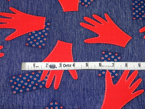 High Five - CUTEST Vintage 70s Soft Bright Blue Denim w/ Red Handprints and Red/White/Blue Calico Patchwork Patches - 1 YARD PLUS