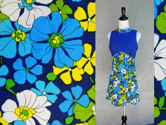 60s Mini Dress - Super Mod Vintage 60s/70s Micro Mini GoGo Summer Dress in Electric Blue, Turquoise, Yellow, Lime Green, and White
