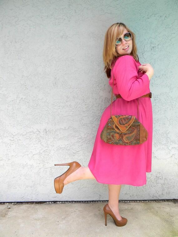 Brocade Baby - Vintage 80s Honey Brown Leather/Carpet Bag Tapestry Patchwork Purse/Boho Shoulder Bag - New Old Stock/never used