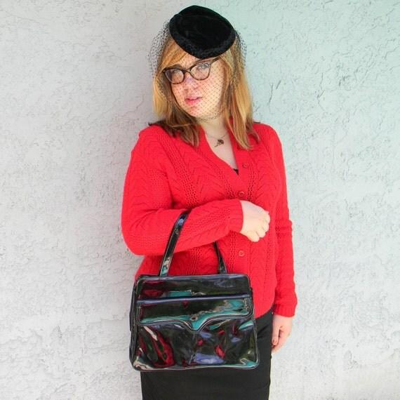 Mid Century Purse - Huge Chunky Vintage 60s Black Patent VINYL Mad Men Handbag w/ front snap pocket - Pan Am Princess