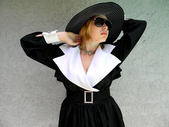 Breakfast at Tiffany's Dress // Stunning Vintage 80s Does 60s Glamorous Mad Men Black/White Taffeta and Rhinestone Mini/Midi Cocktail Dress