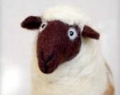 Karina - Felt Sheep, Art Marionette. Handmade Puppet. Stuffed Toy. Waldorf Style. white neutral cream ivory beige brown MADE TO ORDER