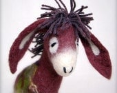 Eliora - Felt Donkey with long floppy ears, Art Marionette. Handmade Puppet. Felted Stuffed Toy. purple claret red maroon MADE TO ORDER
