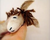 Adrian - Felt Donkey. Art Toy. Felted Stuffed Marionette Puppet Handmade Toys. tan beige cream neutral brown. MADE TO ORDER.