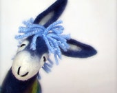 Blue  Mark - Felt Donkey. Art Marionette Handmade Puppet Felted Stuffed Animals Toy. electric aquamarine sky. MADE TO ORDER