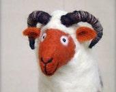 Bastien - Felt Ram. Art Marionette. Handmade Puppet. Felted Stuffed Toy. Waldorf Style Sheep. white brown orange neutral. MADE TO ORDER