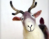 Ingemar - Felt Reindeer. Art Puppet, Marionette, Stuffed Animal, Felted Toy. MADE TO ORDER