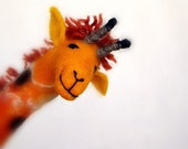 Masamba - Felt Giraffe. Art Animal Marionette, Handmade Puppet, Felted Animals, Stuffed Toy. orange brown yellow.  MADE TO ORDER