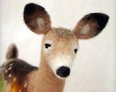 Helga -  White Tailed Female Deer, Art Puppet, Marionette, Stuffed Animal, Felted Toy. Special order for Karen