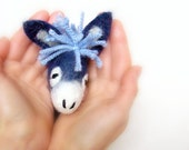 Blue  Manuel - Small Felt Donkey. Art Marionette. Puppet. Felted Stuffed Animals Toy. electric aquamarine sky.  MADE TO ORDER